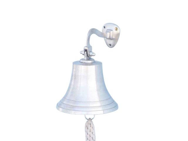 Brushed Nickel Hanging Ships Bell 9