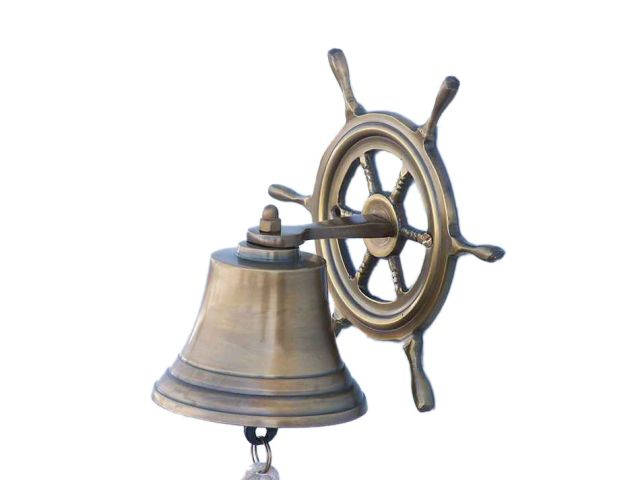 Antique Brass Hanging Ship Wheel Bell 7