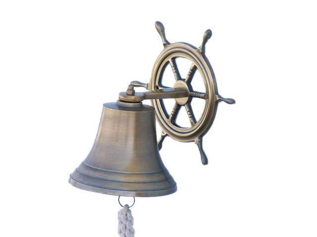 Antique Brass Hanging Ship Wheel Bell 8