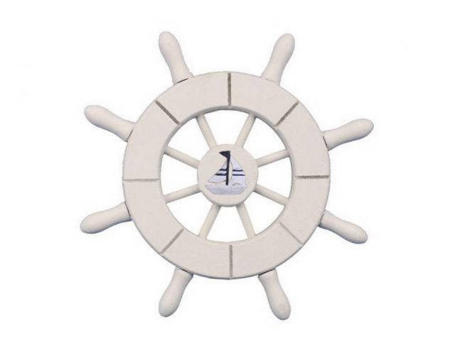 White Decorative Ship Wheel With Sailboat 6