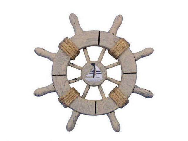 Rustic Decorative Ship Wheel With Sailboat 6