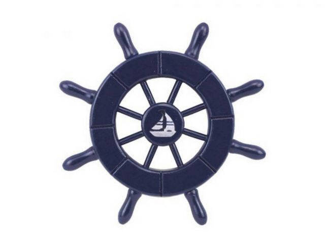 Dark Blue Decorative Ship Wheel With Sailboat 6