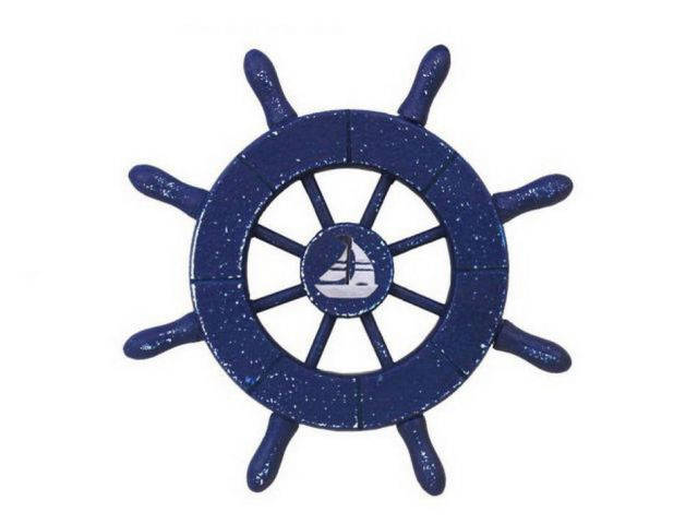 Rustic Dark Blue Decorative Ship Wheel With Sailboat 6