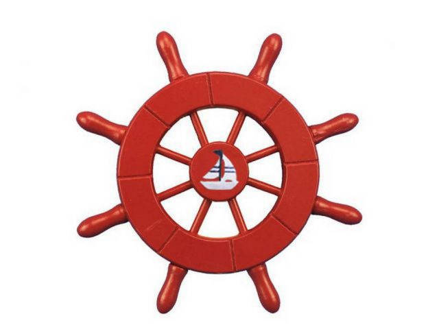 Red Decorative Ship Wheel With Sailboat 6
