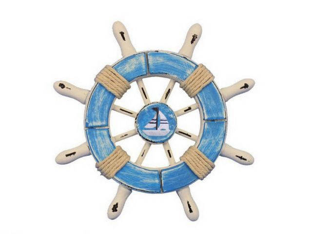 Rustic Light Blue and White Decorative Ship Wheel With Sailboat 6