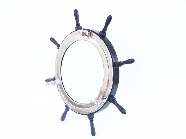 Deluxe Class Wood and Chrome Ship Wheel Porthole Mirror 36