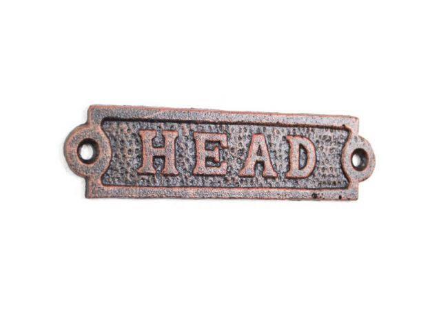Rustic Copper Cast Iron Head Sign 6