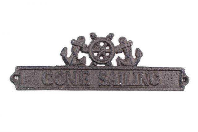 Cast Iron Gone Sailing Sign with Ship Wheel and Anchors 9