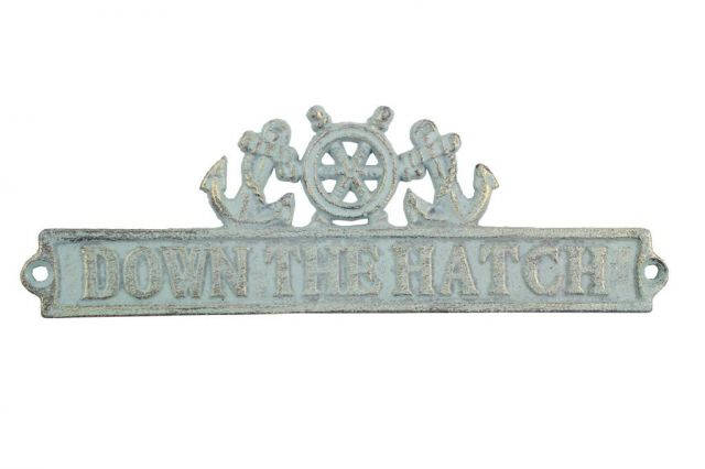 Antique Bronze Cast Iron Down the Hatch Sign with Ship Wheel and Anchors 9