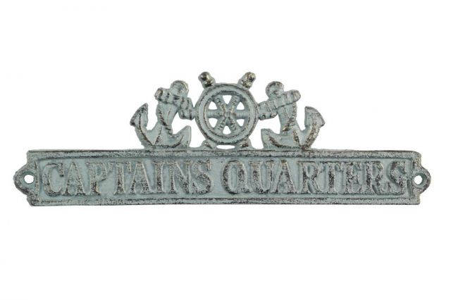 Antique Bronze Cast Iron Captains Quarters Sign with Ship Wheel and Anchors 9