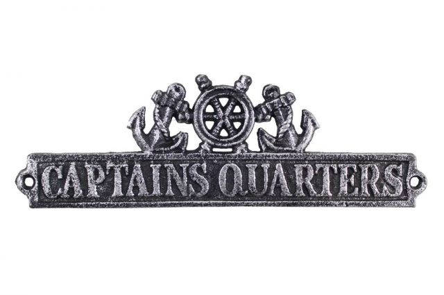 Antique Silver Cast Iron Captains Quarters Sign with Ship Wheel and Anchors 9