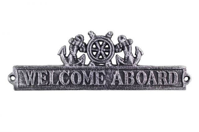 Antique Silver Cast Iron Welcome Aboard Sign with Ship Wheel and Anchors 9