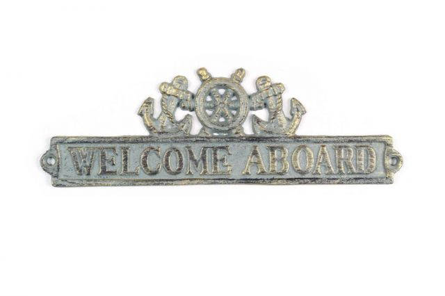 Antique Bronze Cast Iron Welcome Aboard Sign with Ship Wheel and Anchors 9