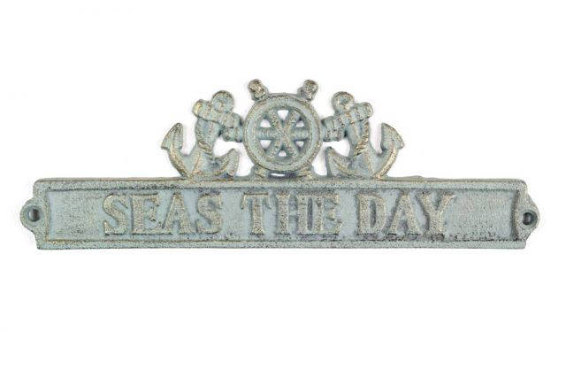 Antique Bronze Cast Iron Seas the Day Sign with Ship Wheel and Anchors 9