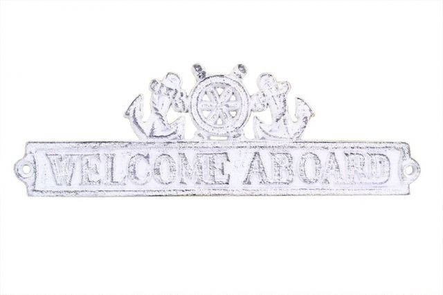 Whitewashed Cast Iron Welcome Aboard Sign with Ship Wheel and Anchors 9