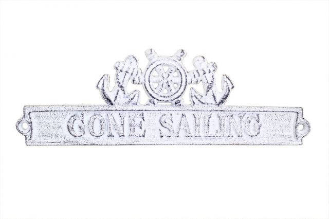 Whitewashed Cast Iron Gone Sailing Sign with Ship Wheel and Anchors 9