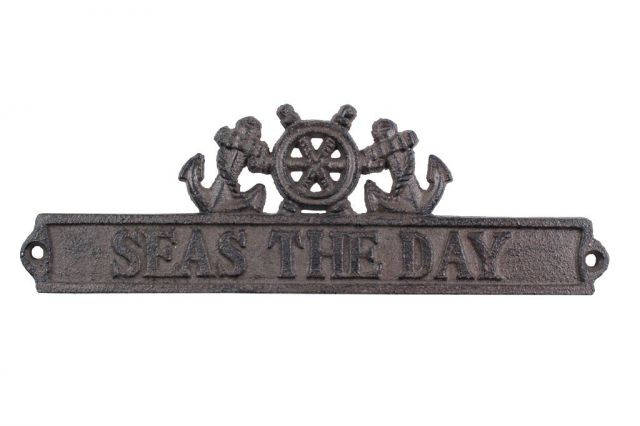 Cast Iron Seas the Day Sign with Ship Wheel and Anchors 9
