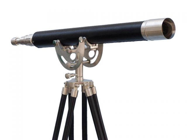 Floor Standing Brushed Nickel With Leather Anchormaster Telescope 50