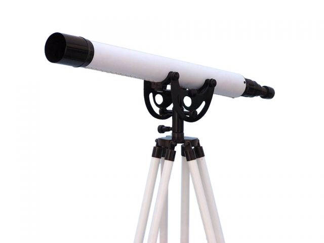 Floor Standing Oil-Rubbed Bronze-White Leather Anchormaster Telescope 50