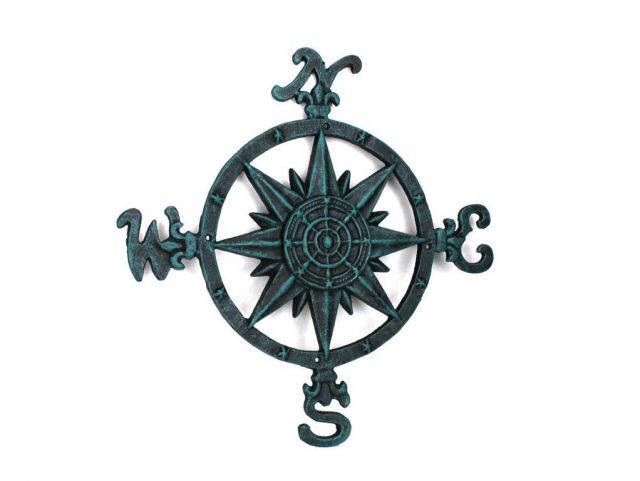 Rustic Seaworn Blue Cast Iron Large Decorative Compass 19