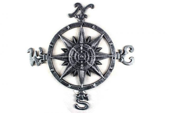 Antique Silver Cast Iron Large Decorative Rose Compass 19