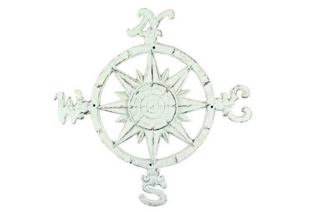 Rustic Whitewashed Cast Iron Large Decorative Rose Compass 19