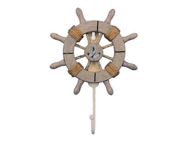 Rustic Decorative Ship Wheel With Anchor and Hook 8