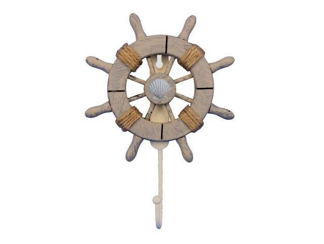 Rustic Decorative Ship Wheel With Seashell and Hook 8