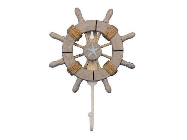Rustic Decorative Ship Wheel With Starfish and Hook 8