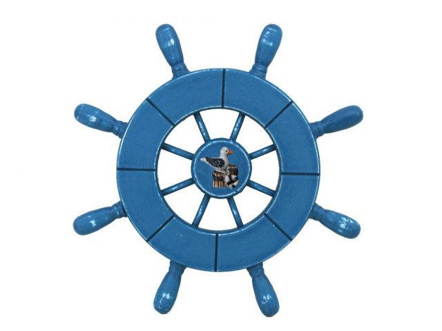 Rustic All Light Blue Decorative Ship Wheel With Seagull 9