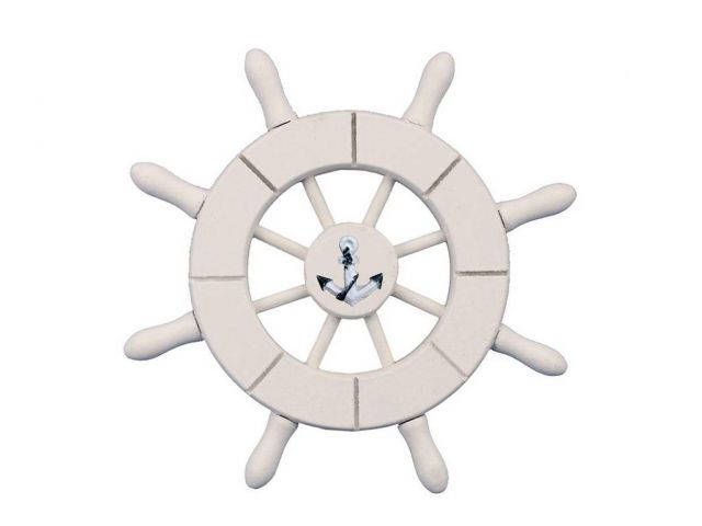White Decorative Ship Wheel With Anchor 6