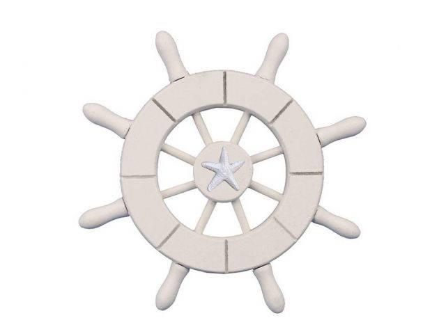 White Decorative Ship Wheel With Starfish 6