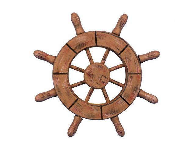 Rustic Wood Finish Decorative Ship Wheel 6
