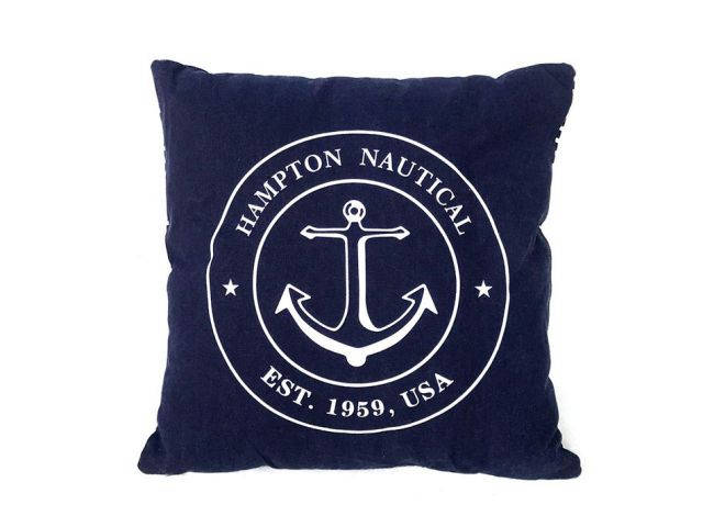 Decorative Blue Hampton Nautical with Anchor Throw Pillow 16