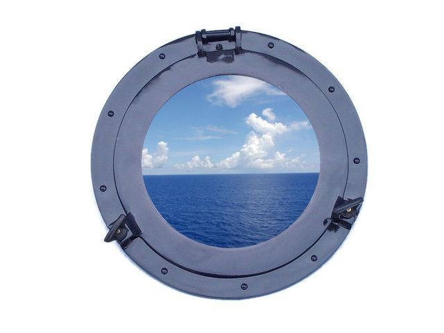 Brass Decorative Ship Porthole Window 15 - Dark Blue