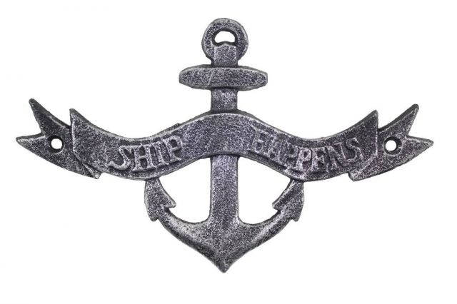 Antique Silver Cast Iron Ship Happens Anchor Sign 8