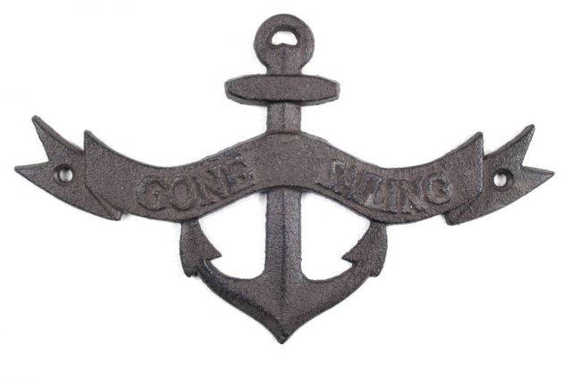 Cast Iron Gone Sailing Anchor Sign 8