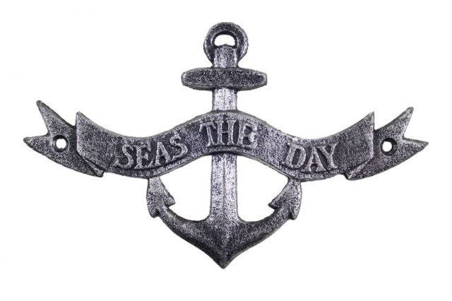 Antique Silver Cast Iron Seas the Day Anchor Sign 8