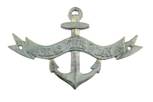 Antique Bronze Cast Iron Seas the Day Anchor Sign 8