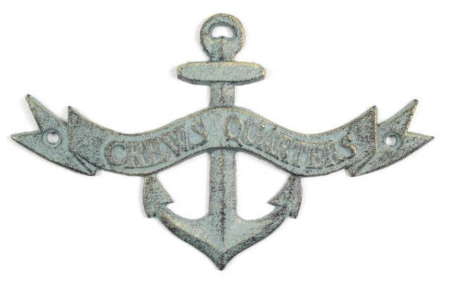 Antique Bronze Cast Iron Crews Quarters Anchor Sign 8