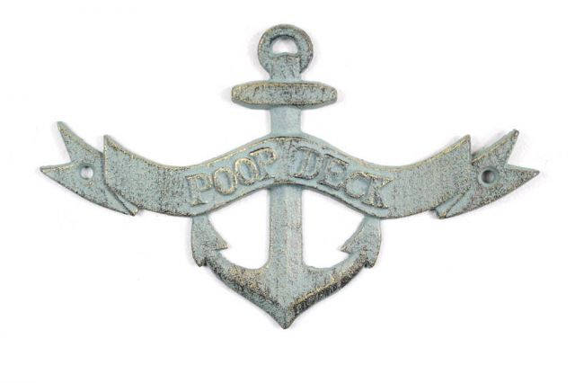 Antique Bronze Cast Iron Poop Deck Anchor Sign 8