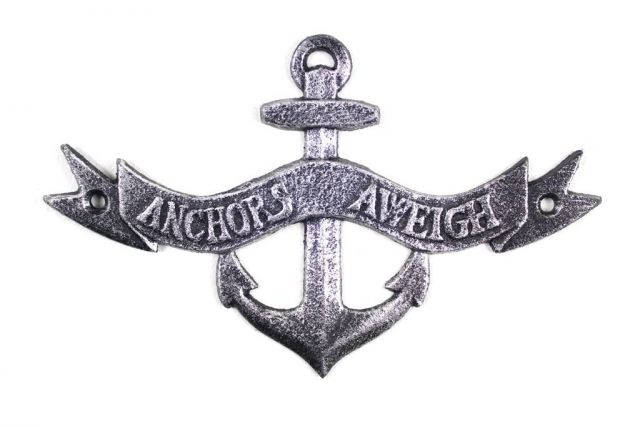 Antique Silver Cast Iron Anchors Aweigh Anchor Sign 8