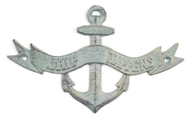 Antique Bronze Cast Iron Ship Happens Anchor Sign 8