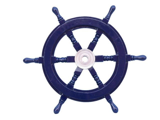 Deluxe Class Dark Blue Wood and Chrome Decorative Ship Steering Wheel 18
