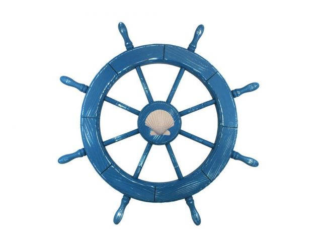 Wooden Rustic All Light Blue Decorative Ship Wheel With Seashell 30