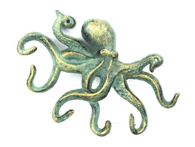 Antique Bronze Cast Iron Octopus Hook 11