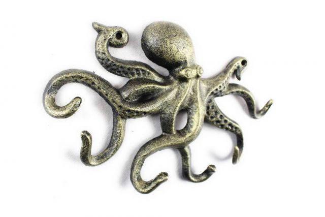 Antique Gold Cast Iron Octopus Hook 11