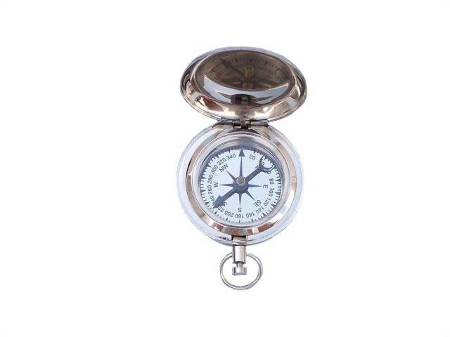 Chrome Ship Scoutandapos;s Push Button Compass 2