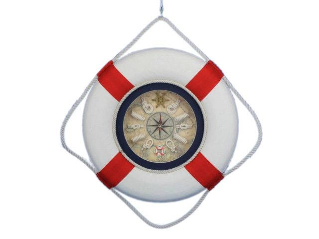 Classic White Decorative Lifering Clock with Red Bands 18