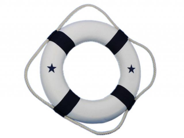 Classic White Decorative Lifering with Blue Bands 15